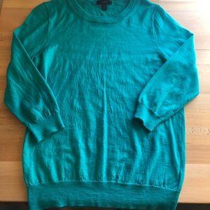 JCrew Tippi sweater teal 3/4 sleeve length.